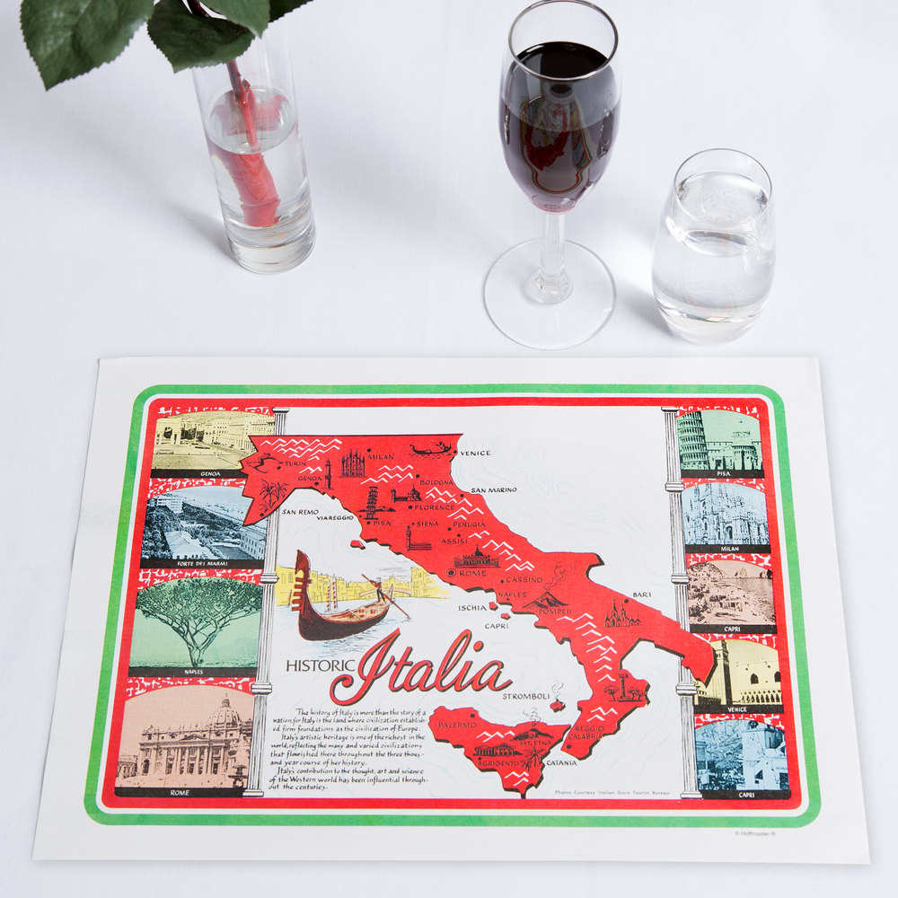 "Hoffmaster 702022 10"" x 14"" Historic Italia Paper Placemat - 1000 / Case"