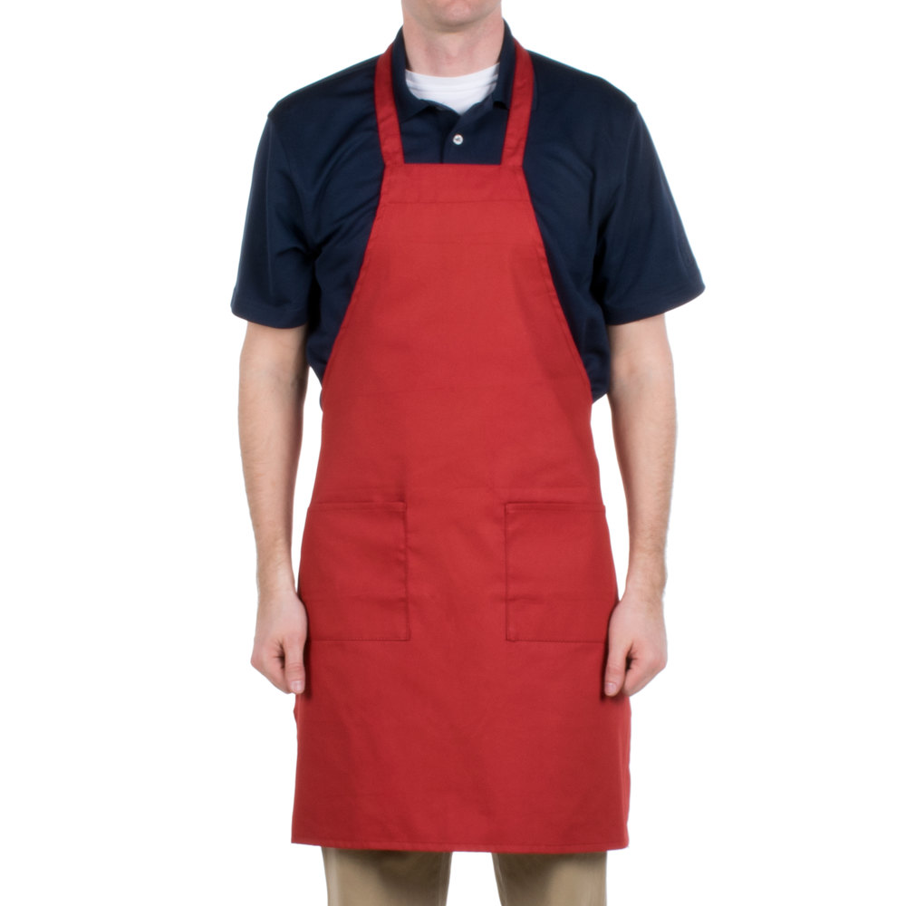 "Choice Red Full Length Bib Apron with Pockets - 34""L x 30""W"