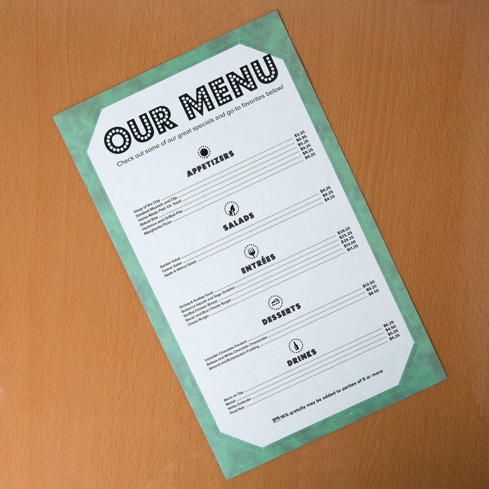 "8 1/2"" x 14"" Green Menu Paper - Angled Marble Border - 100/Pack"
