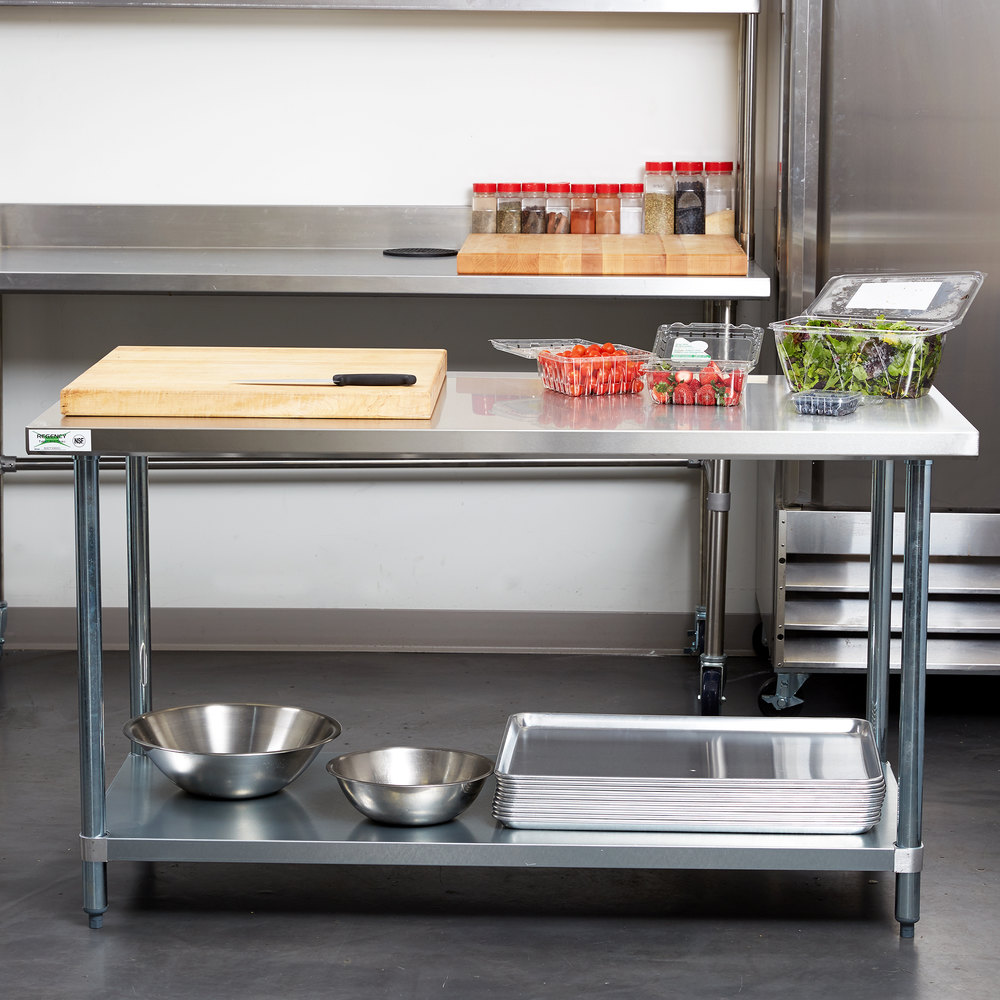 regency quot x quot  gauge  stainless steel commercial work table with: stainless kitchen work table