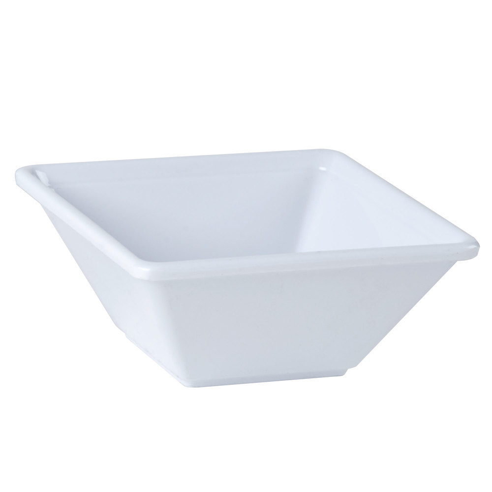 "4 3/4"" x 4 3/4"" Passion White Square 8 oz. Melamine Bowl - 12/Pack"