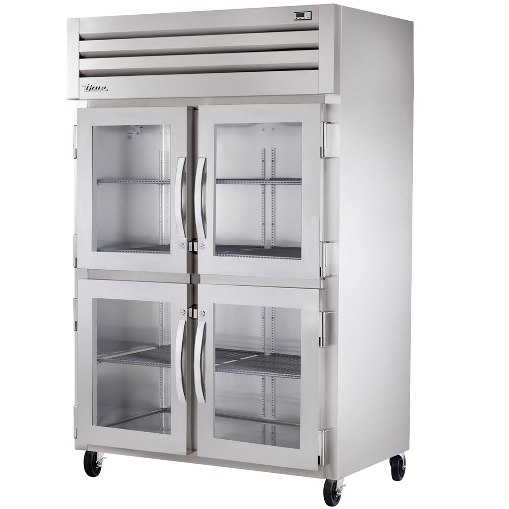 True STR2H-4HG Specification Series Two Section Reach In Heated Holding Cabinet with Four Glass Half Doors - 56 Cu. Ft.