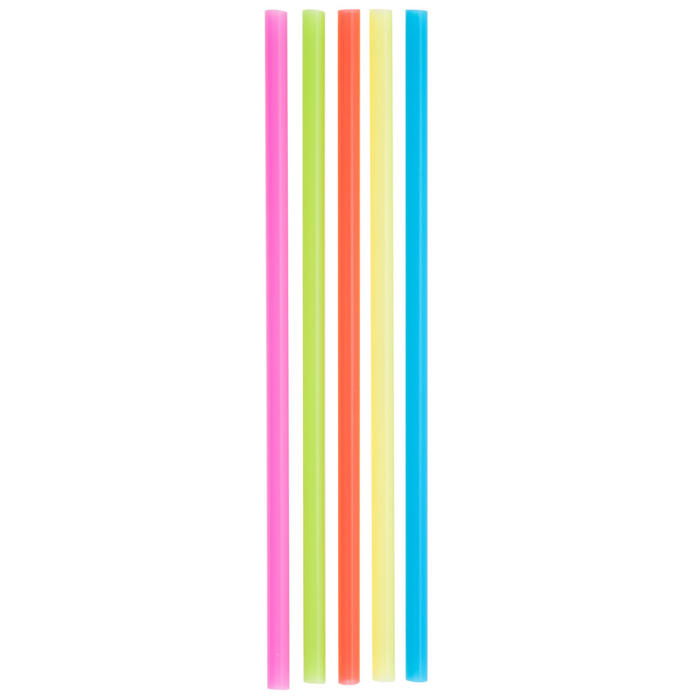Choice 7 3 4 Quot Jumbo Neon Unwrapped Soda Straw 250 Box
