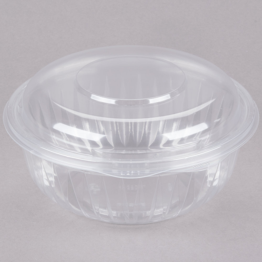 dart solo c32hbd presentabowls 32 oz clear hinged plastic bowl with dome lid 150 case. Black Bedroom Furniture Sets. Home Design Ideas