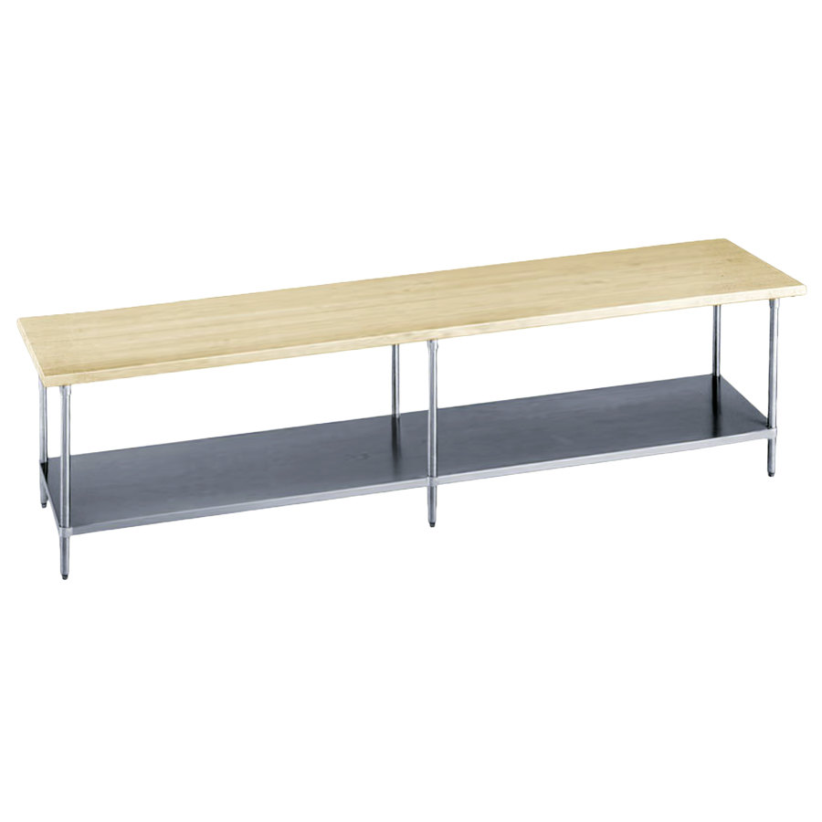 "Advance Tabco H2S-248 Wood Top Work Table with Stainless Steel Base and Undershelf - 24"" x 96"""