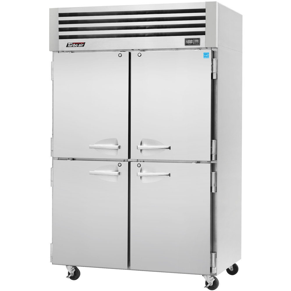 "Turbo Air PRO-50-4R 52"" Premiere Pro Series Two Section Solid Half Door Reach in Refrigerator - 49 Cu. Ft."