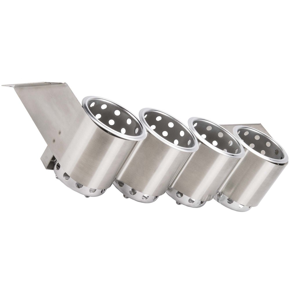 Steril-Sil UB-4S Four Hole Stainless Steel Flatware Cylinder Holder - Under Bar
