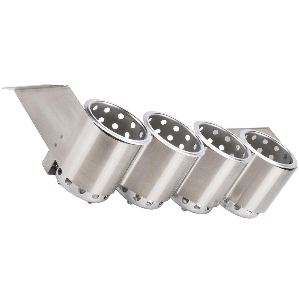 sterilsil ub4s four hole stainless steel flatware cylinder holder under bar - Stainless Steel Flatware