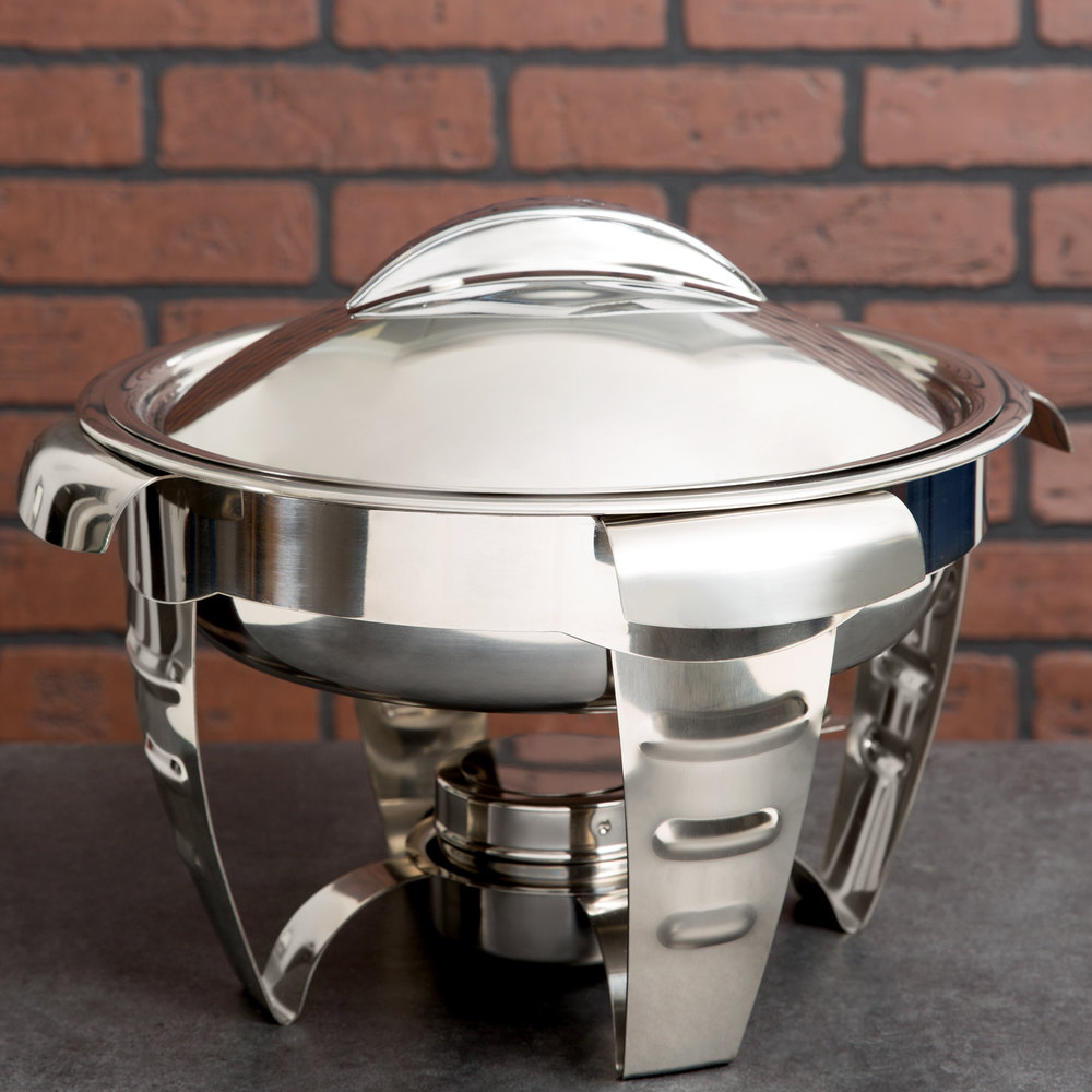 Vollrath 49521 4.2 Qt. Maximillian Steel Medium Round Chafer with Stainless Steel Accents