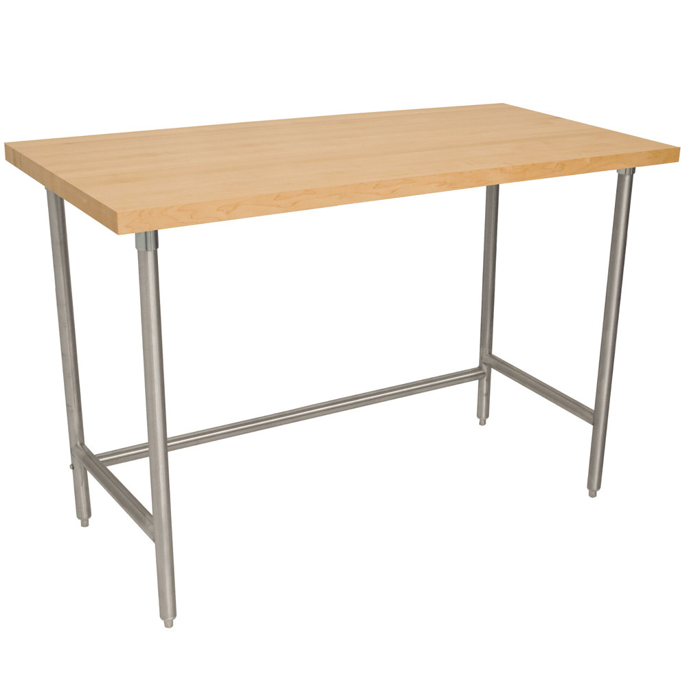 "Advance Tabco TH2G-306 Wood Top Work Table with Galvanized Base - 30"" x 72"""