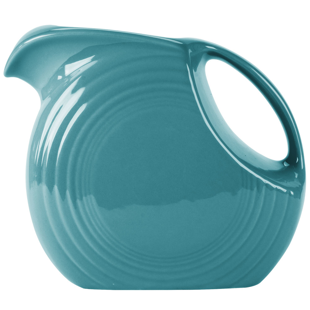 Homer Laughlin 484107 Fiesta Turquoise 2.1 Qt. Large Disc Pitcher - 2/Case