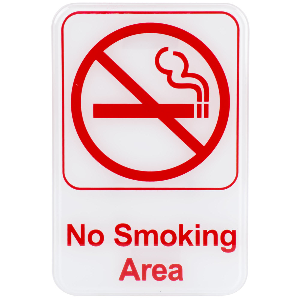 no smoking area sign red and white 9quot x 6quot