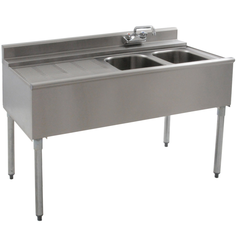 "Eagle Group B4L-2-22 48"" Underbar Sink with Two Compartments and Left Drainboard"