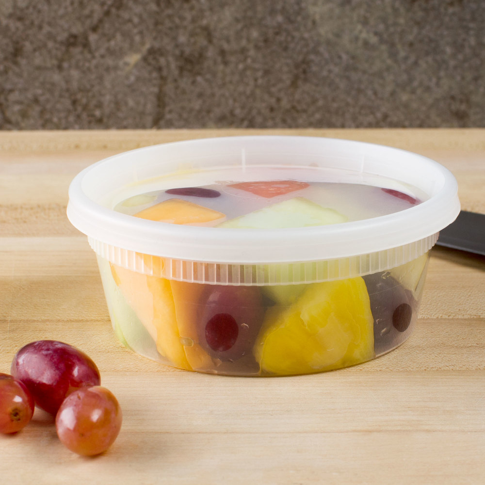 Newspring YL2508 8 oz. Translucent Round Deli Container Combo Pack - 240 / Case
