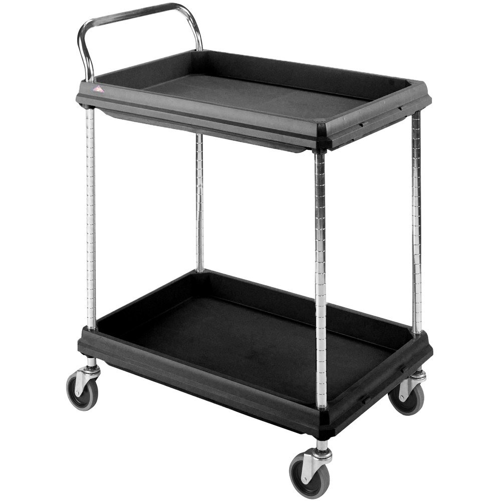 "Metro BC2030-2DBL Black Utility Cart with Two Deep Ledge Shelves 32 3/4"" x 21 1/2"""