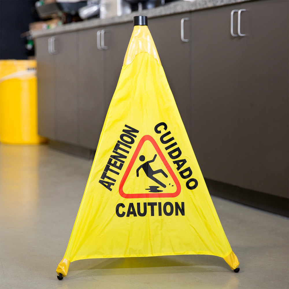 "31"" Pop-Up Safety Cone Wet Floor Sign"