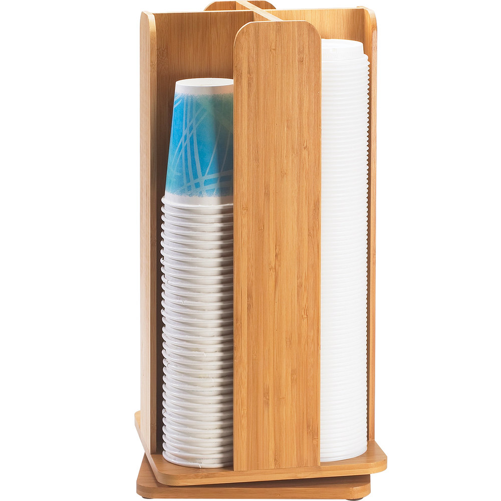 "Cal-Mil 378-60 Bamboo Revolving Lid / Cup Organizer - 8"" x 8"" x 18 1/4"""