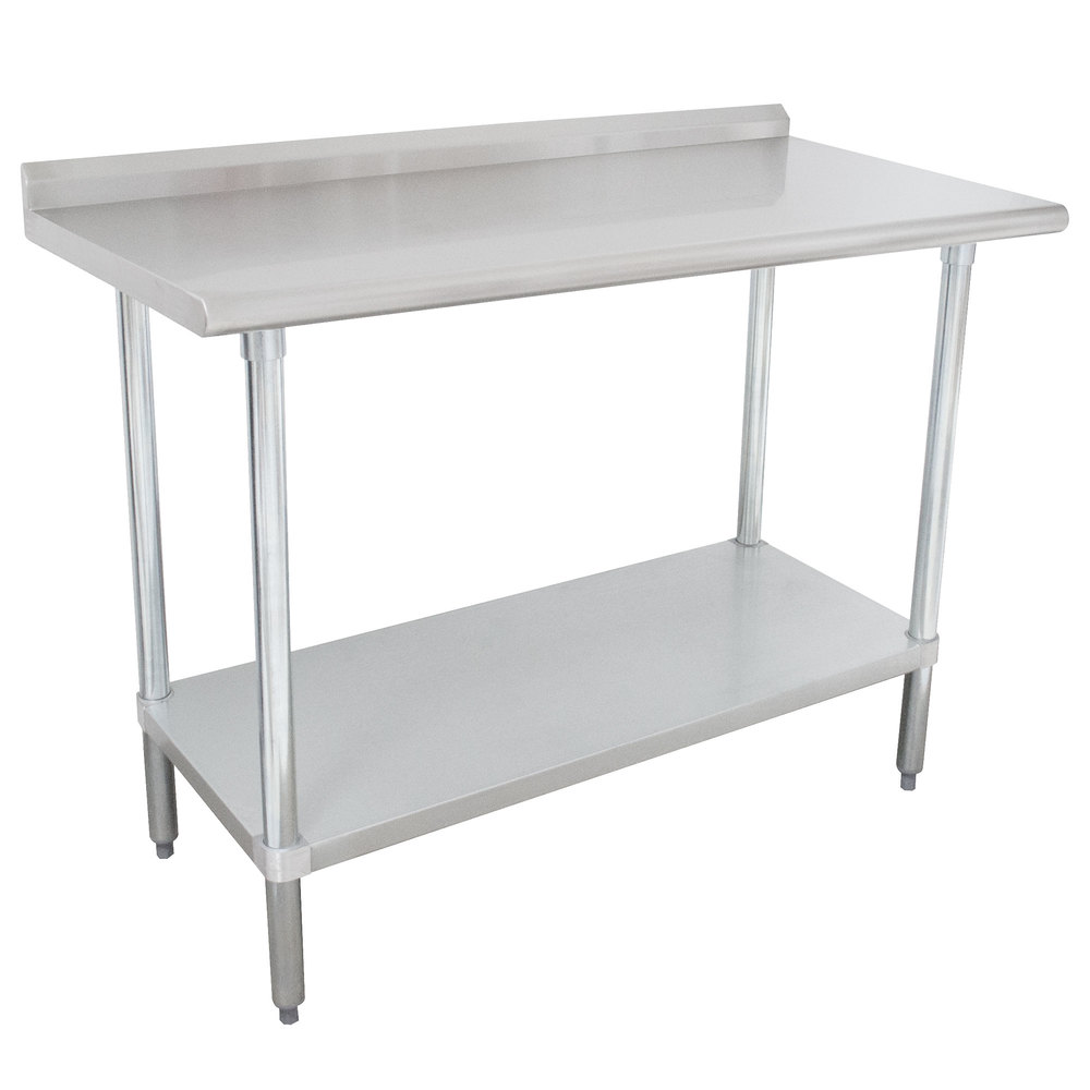 "Advance Tabco FLAG-243-X 24"" x 36"" 16 Gauge Stainless Steel Work Table with 1 1/2"" Backsplash and Galvanized Undershelf"