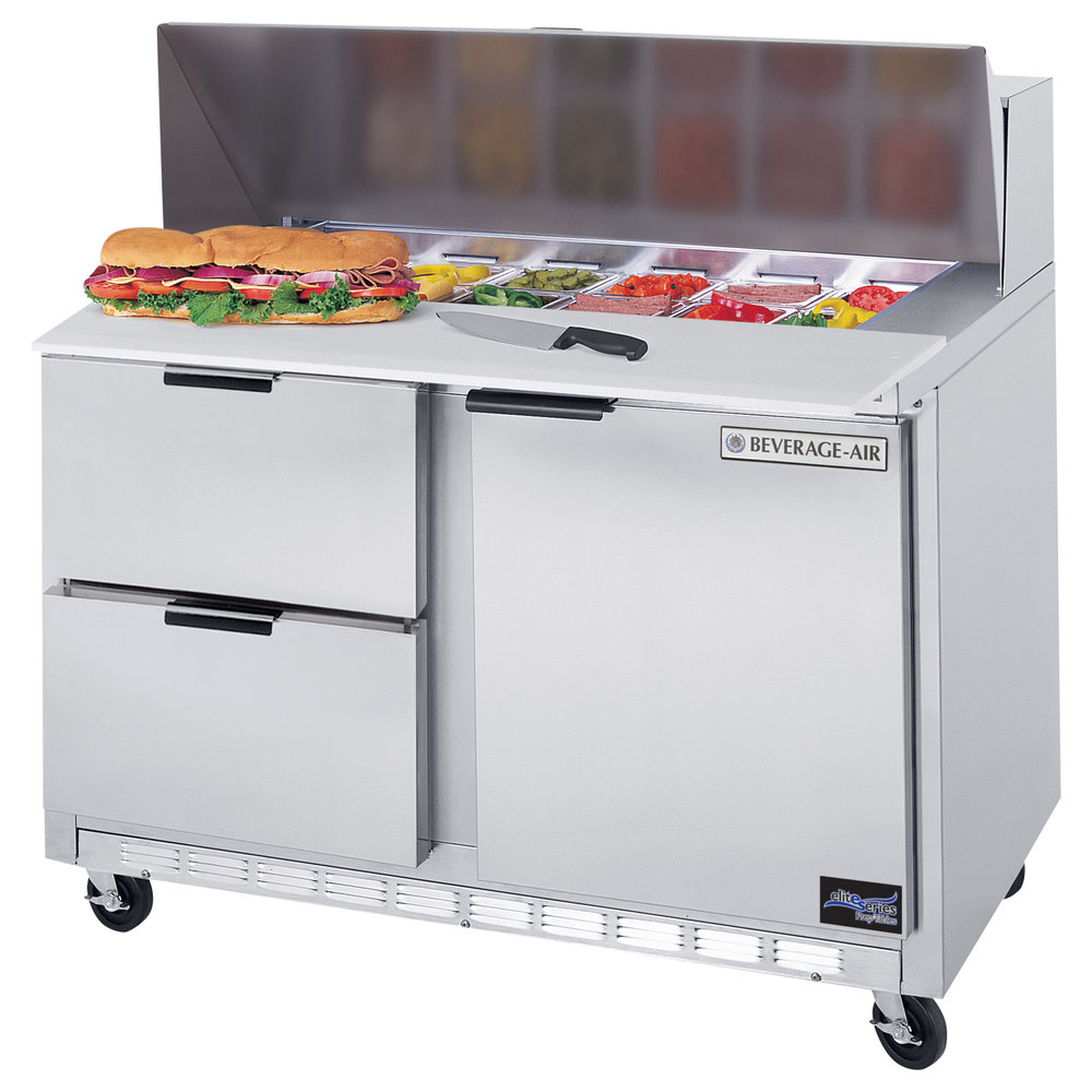 "Beverage Air SPED48-08C-2 48"" Refrigerated Salad / Sandwich Prep Table with 1 Door, 2 Drawers and 17"" Wide Cutting Board"