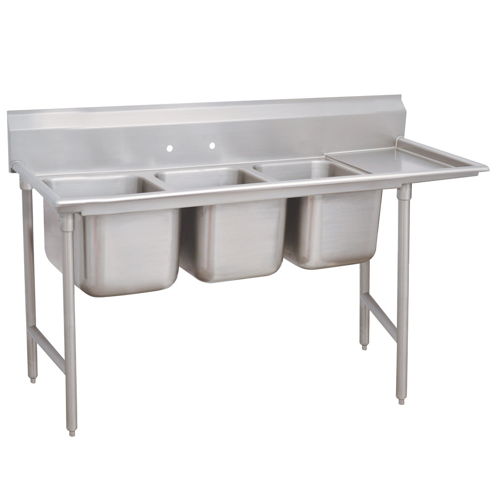 Right Drainboard Advance Tabco 93-83-60-24 Regaline Three Compartment Stainless Steel Sink with One Drainboard - 95""