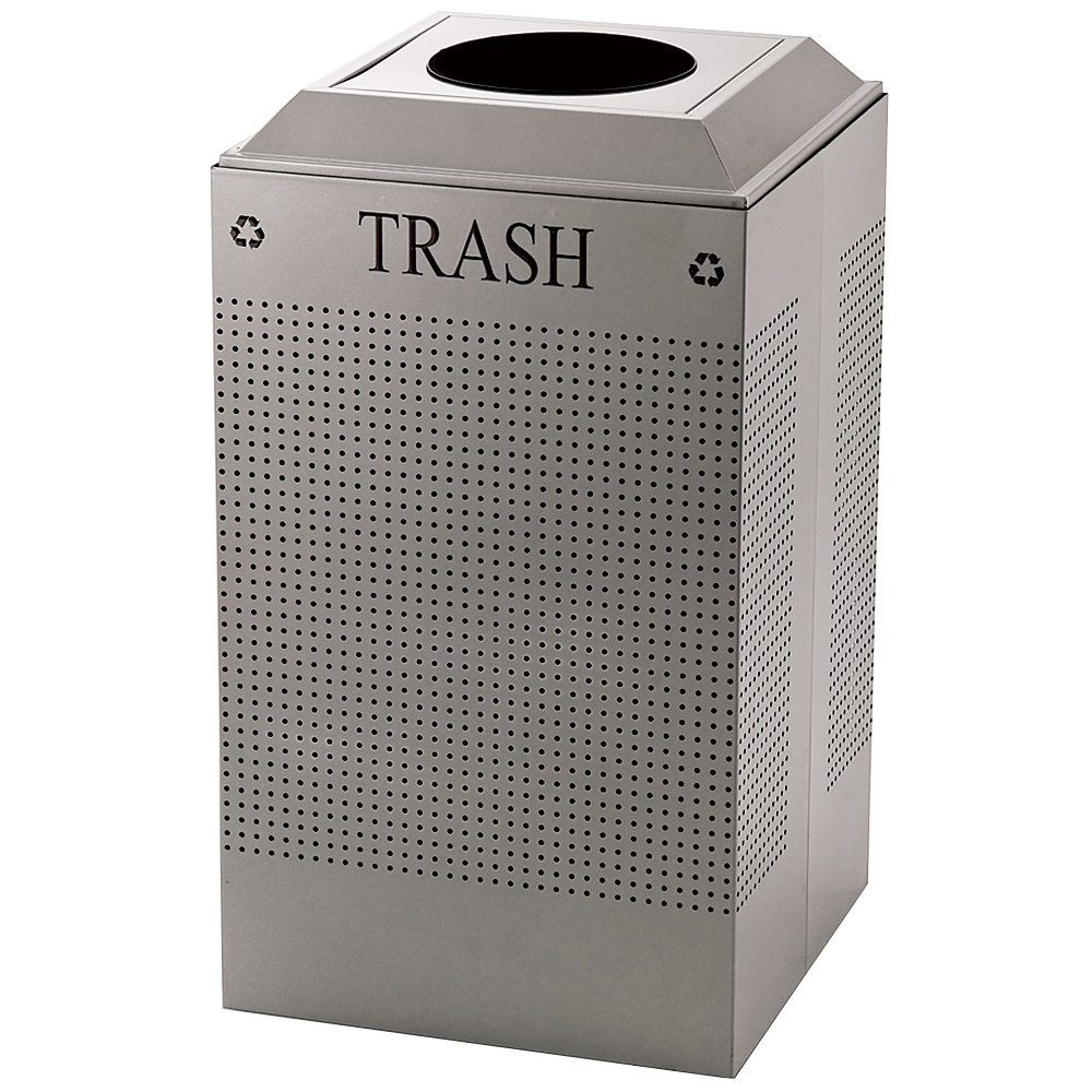 Rubbermaid DCR24TSM Silhouettes Silver Metallic Designer Recycling Receptacle - Trash 29 Gallon (FGDCR24TSM)