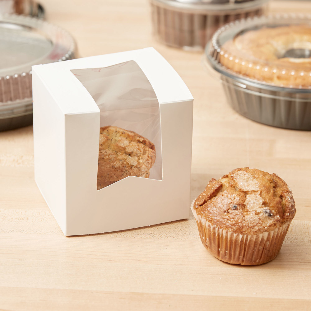 "Southern Champion 24033 Window Cupcake Box 4 1/2"" x 4 1/2"" x 4 1/2"" - 200/Case"