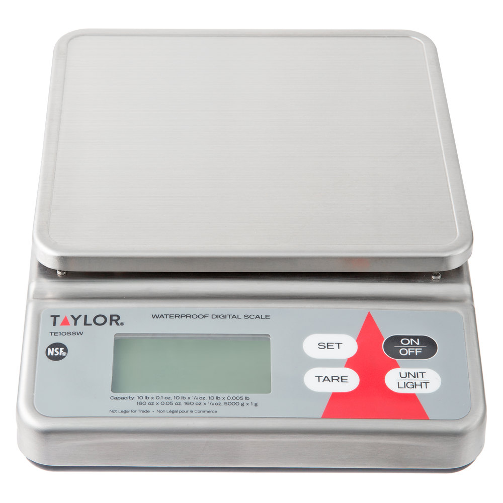 Taylor TE10SSW 10 lb. Waterproof Digital Portion Control Scale for ...