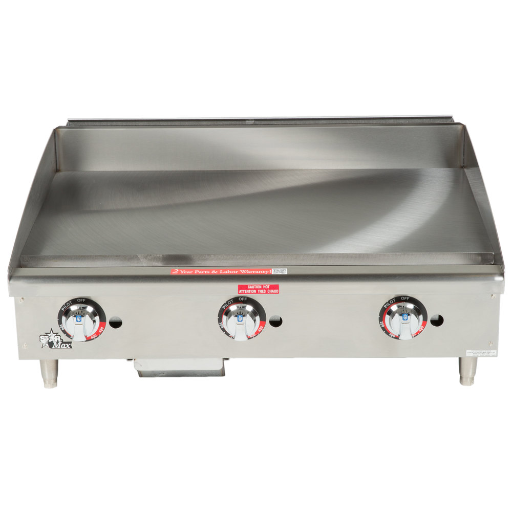 "Star Max 636TSPF 36"" Thermostatic Control Gas Countertop Griddle with Safety Pilot - 84,900 BTU"