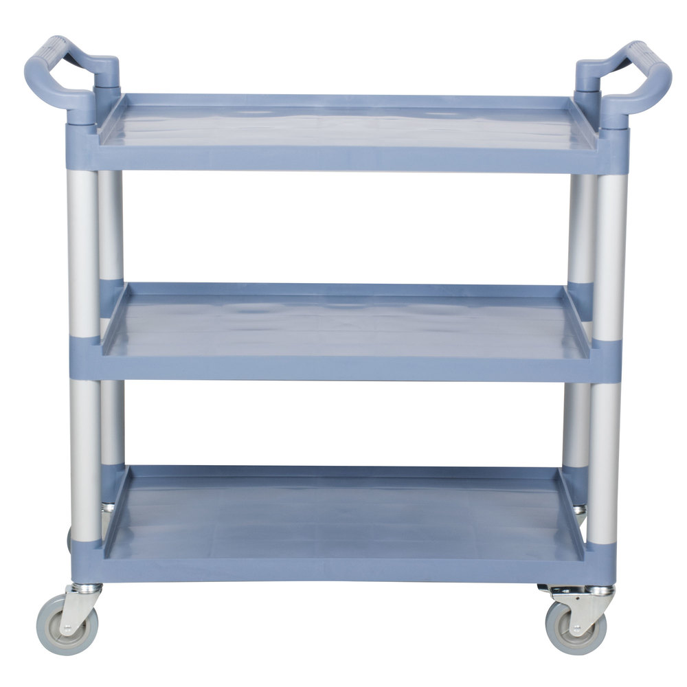 Choice Gray Utility / Bussing Cart with Three Shelves- 42\