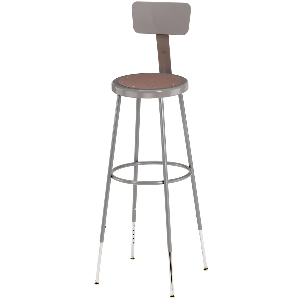 "National Public Seating 6230HB 31"" - 39"" Gray Adjustable Round Hardboard Lab Stool with Adjustable Backrest"