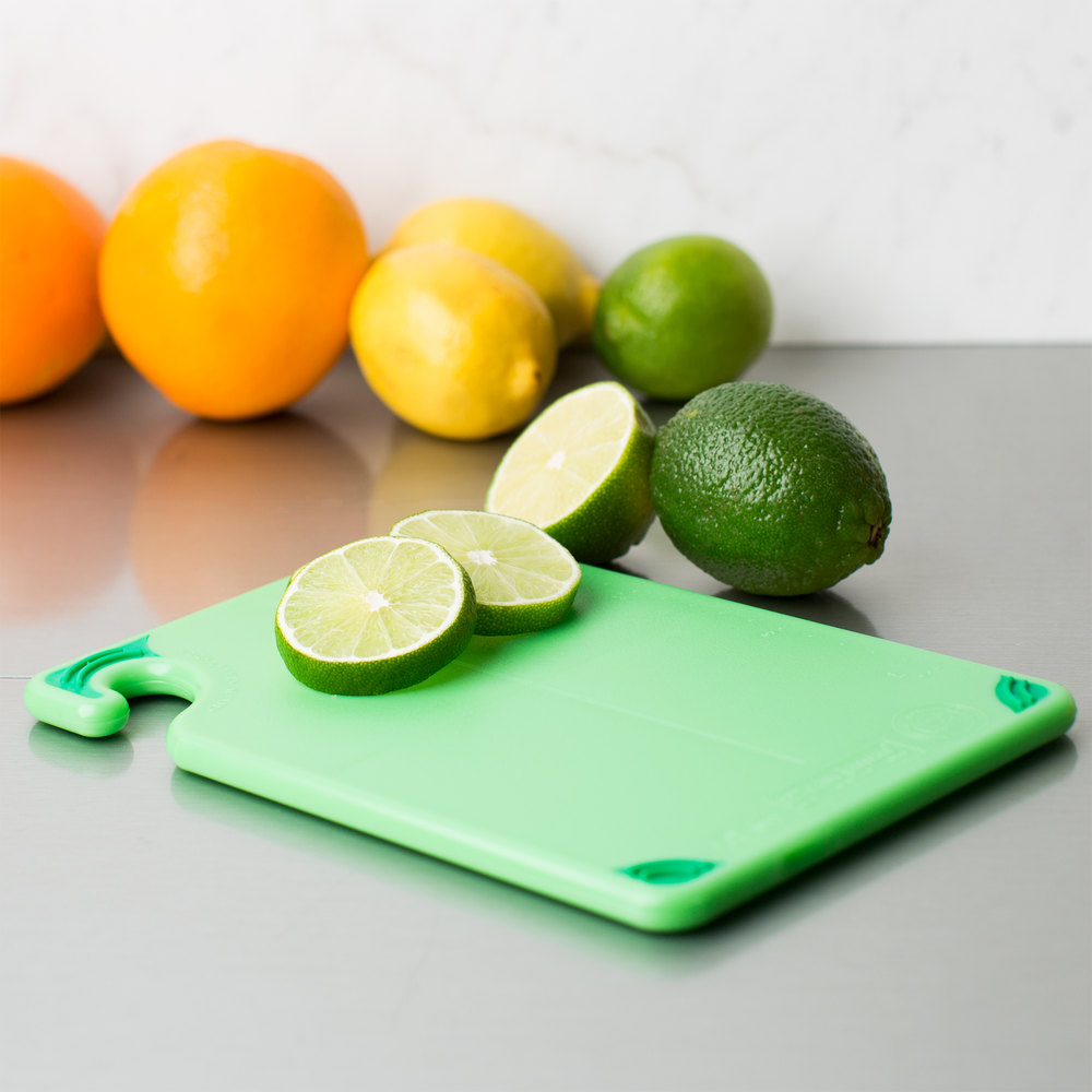 "San Jamar CBG6938GN Green Saf-T-Grip 6"" x 9"" x 3/8"" Non-Slip Grip Cutting Board - Bar Size"