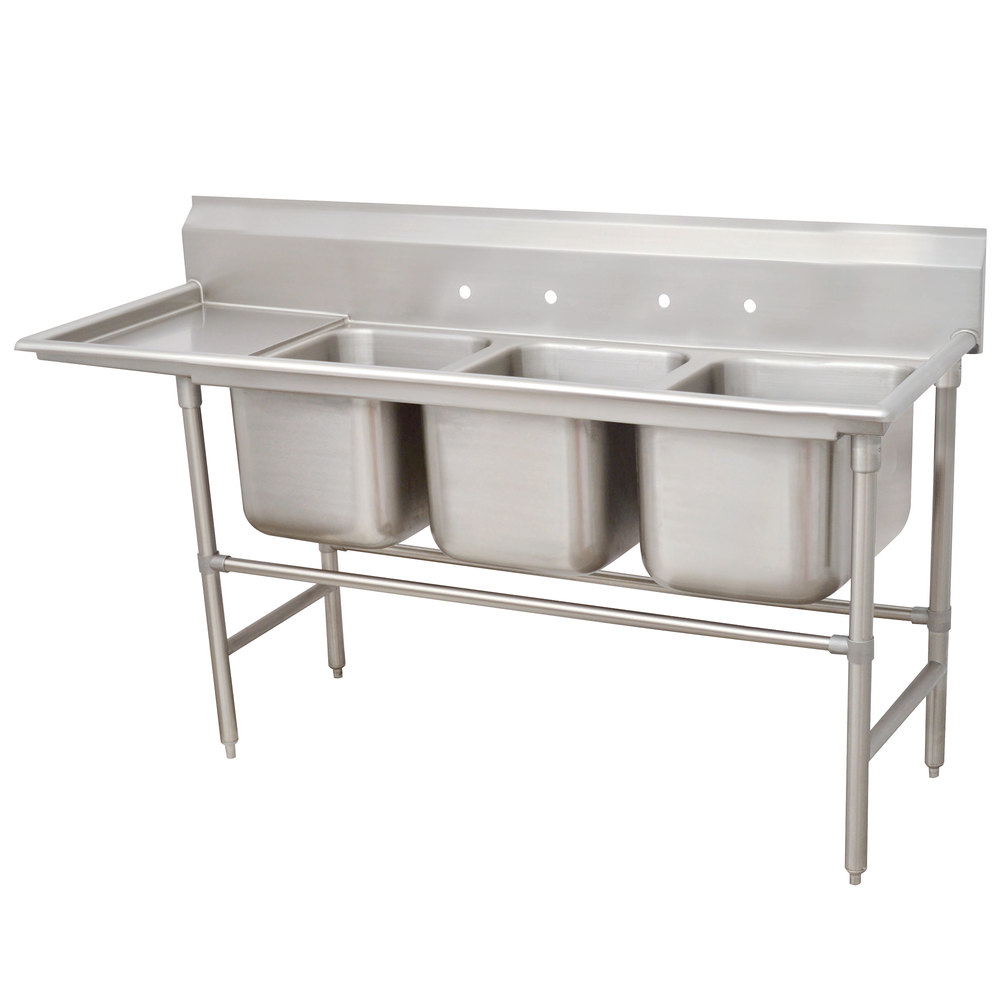 Left Drainboard Advance Tabco 94-43-72-36 Spec Line Three Compartment Pot Sink with One Drainboard - 119""