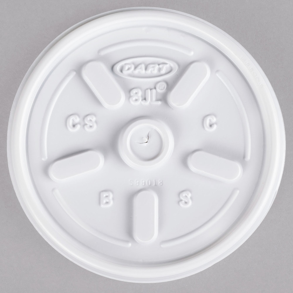 Dart Solo 8JL White Vented Lid - 100/Pack
