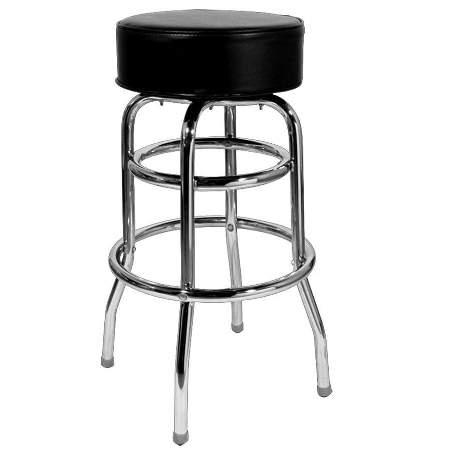 Black Double Ring Bar Stool with 4 1/2 inch Thick Seat