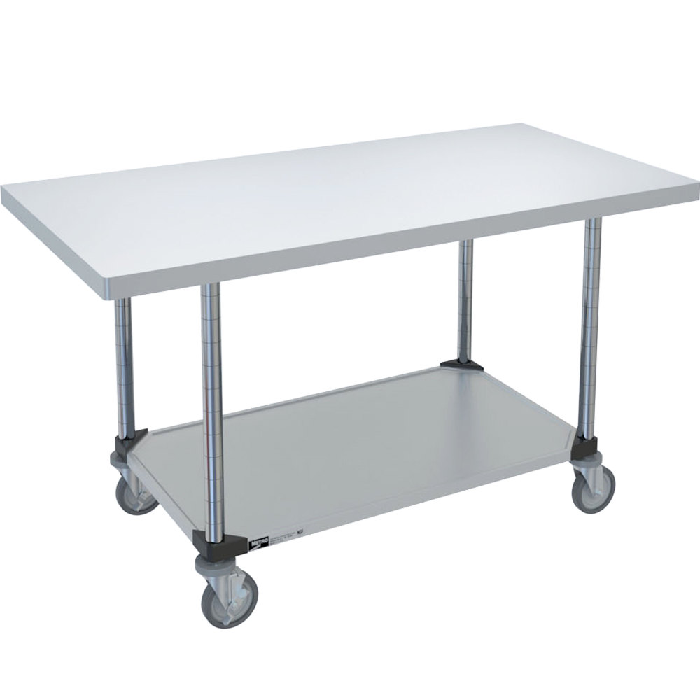 "14 Gauge Metro MWT309FC 30"" x 96"" HD Super Stainless Steel Mobile Work Table with Galvanized Undershelf"