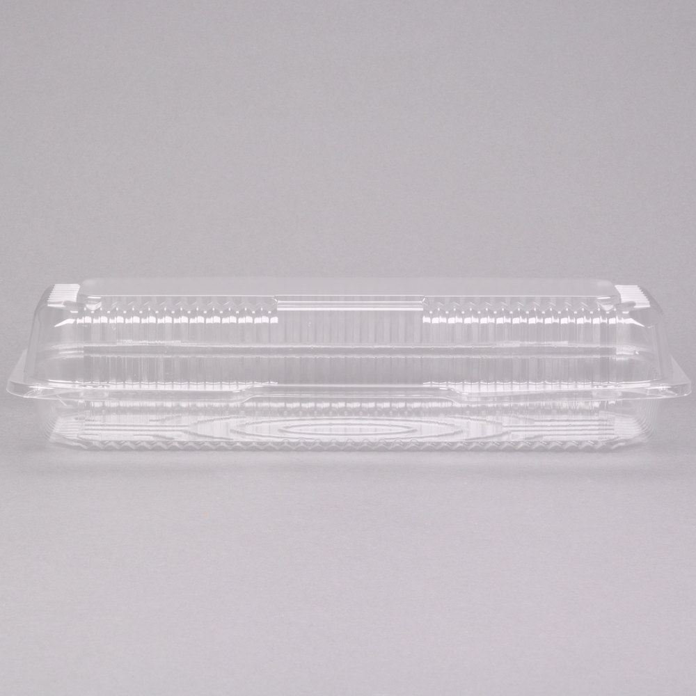 "Dart Solo C65UT1 StayLock 12 1/4"" x 5 1/8"" x 2 3/4"" Clear Hinged Plastic 12"" Small Strudel Container - 250/Case"