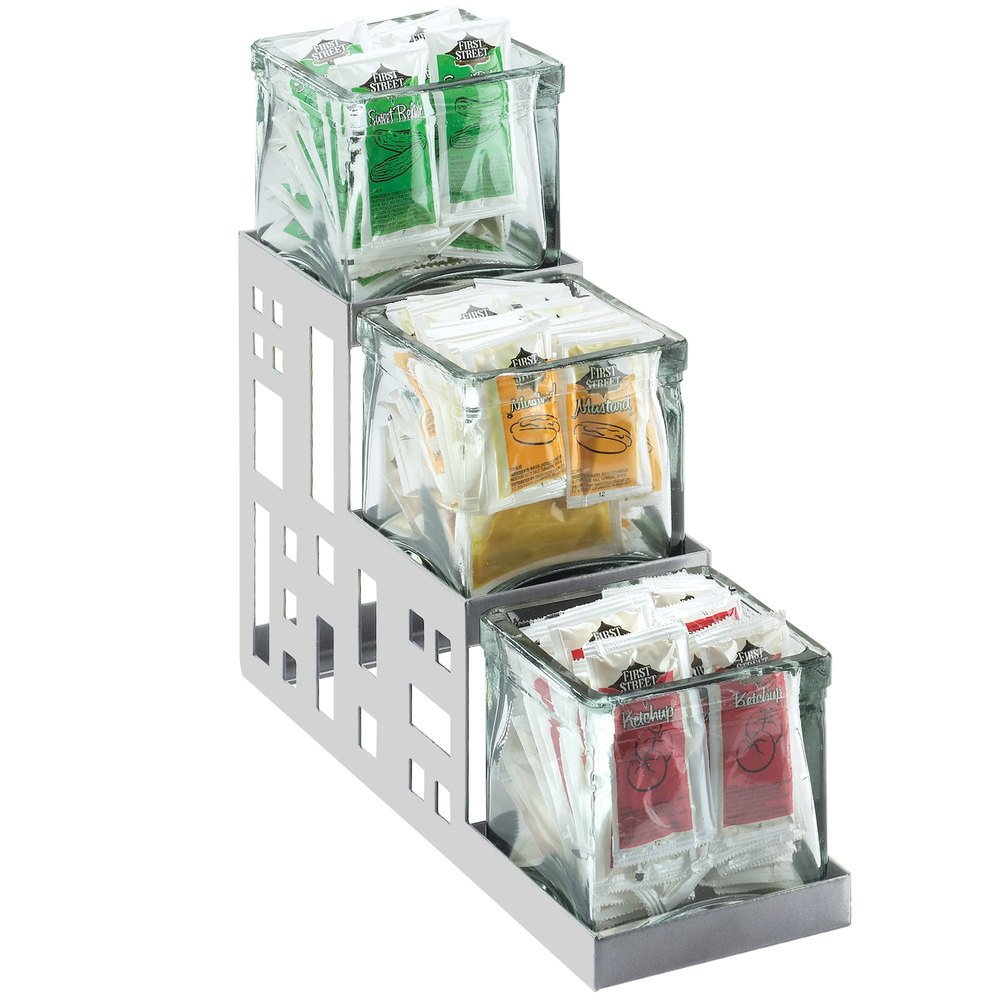 "Cal-Mil 1604-55 Squared Stainless Steel Three Jar Display - 4"" x 12"" x 7 1/4"""