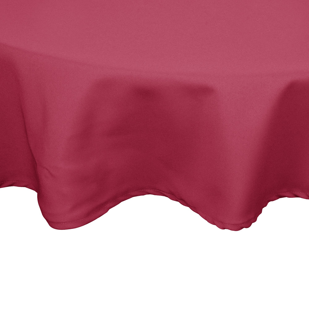 "132"" Round Mauve 100% Polyester Hemmed Cloth Table Cover"