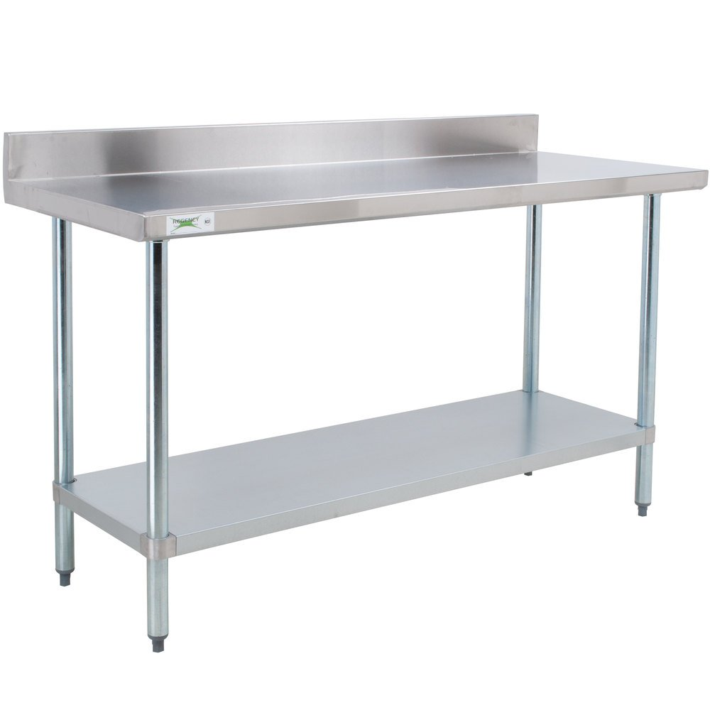 Regency 24 inch x 60 inch 18-Gauge 304 Stainless Steel Commercial Work Table with 4 inch Backsplash and Galvanized Undershelf