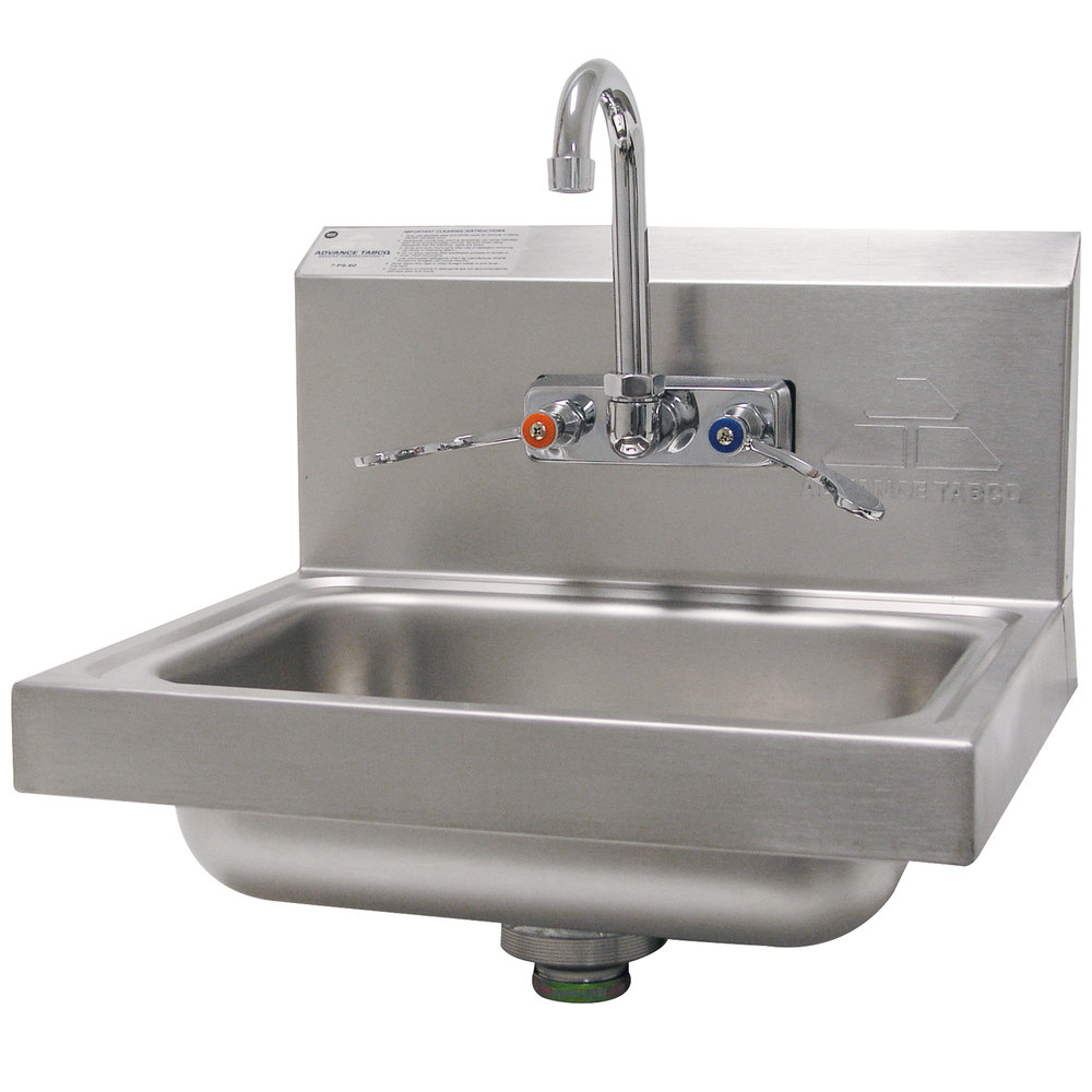 "Advance Tabco 7-PS-68 Hand Sink with Splash Mount Faucet and Wrist Handles - 17 1/4"" x 15 1/4"""