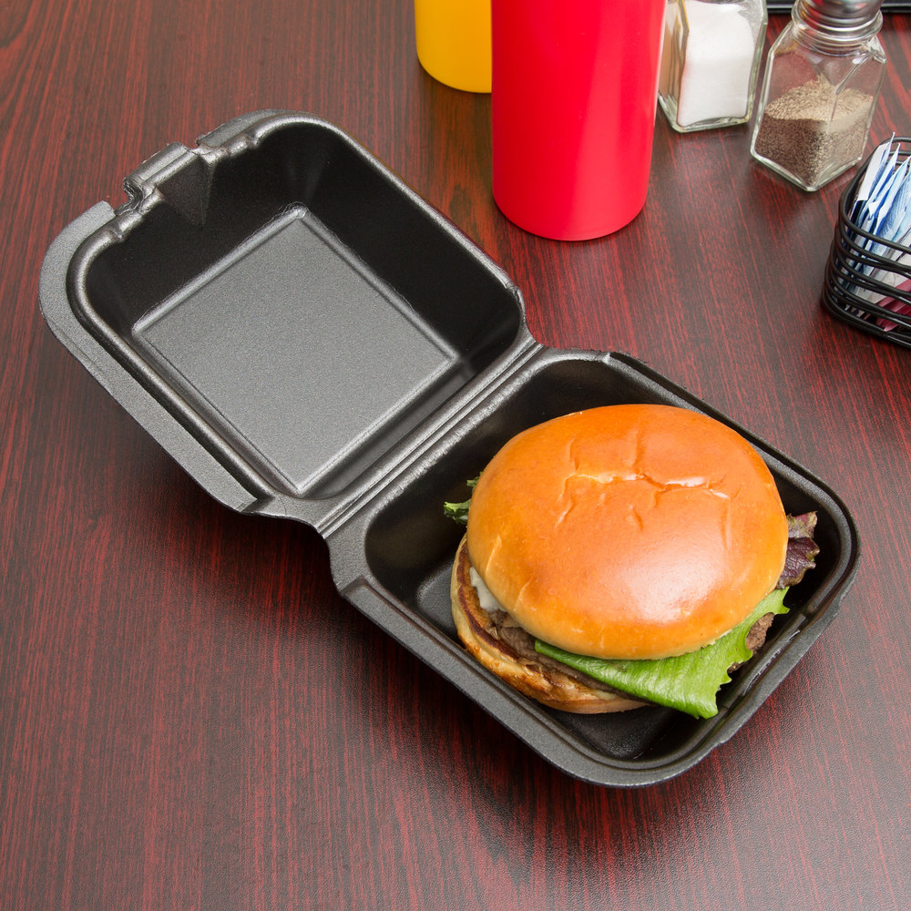 "Genpak SN225-BK 6"" x 6"" x 3"" Black Foam Container with Hinged Lid - 500/Case"