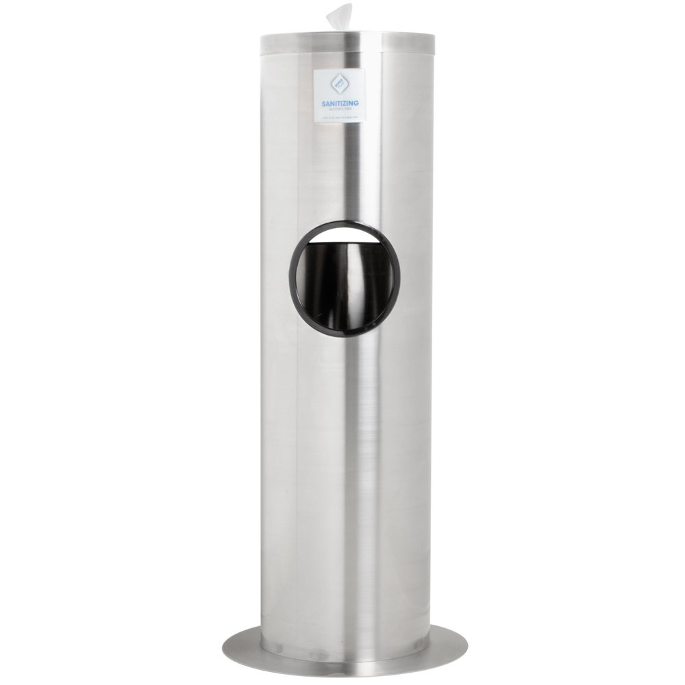 Disinfecting Wipe Dispenser Station with Trash Can - Stainless Steel
