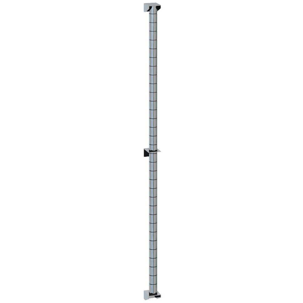 "Metro 63PDF Super Erecta Chrome Post-Type Wall Mount 62"" Post with Brackets"