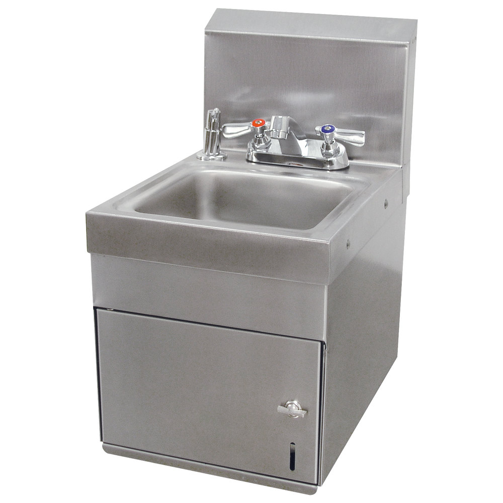 "Advance Tabco 7-PS-88 Space Saver Wall Mounted Hand Sink with Undermount Paper Towel Dispenser - 12"" x 16"""