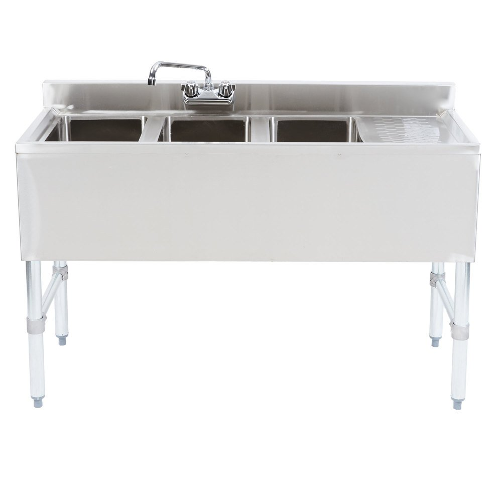"Right Drainboard Regency 3 Bowl Underbar Sink with Drainboard and Faucet - 48"" x 18 3/4"""