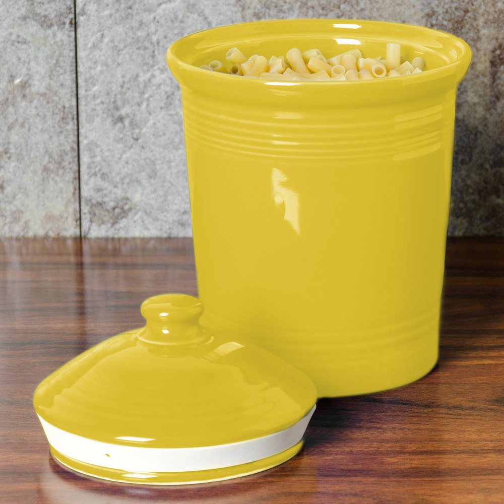 Homer Laughlin 571320 Fiesta Sunflower Small 1 Qt. Canister with Cover - 2/Case