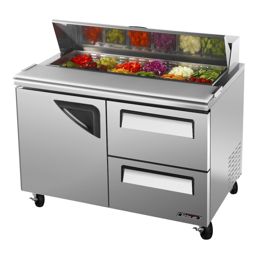 "Turbo Air TST-48SD-D2 48"" Super Deluxe Stainless Steel Refrigerated Salad / Sandwich Prep Table with Deluxe Shelving - One Door, Two Drawers"