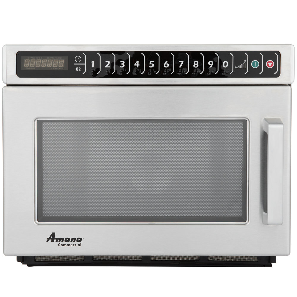 Amana Hdc12a2 Heavy Duty Stainless Steel Commercial Microwave With Push On Controls 120v 1200w