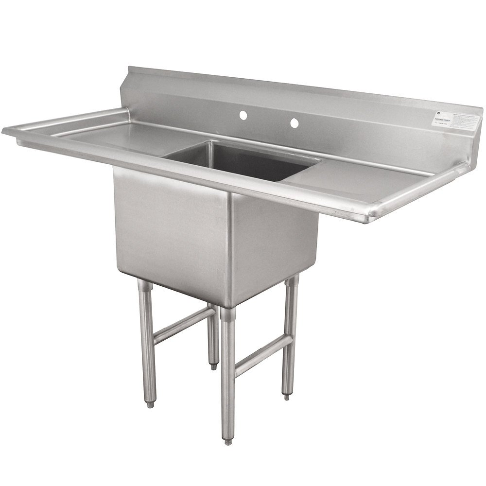 Advance Tabco FC-1-1818-24RL One Compartment Stainless Steel Commercial Sink with Two Drainboards - 66""