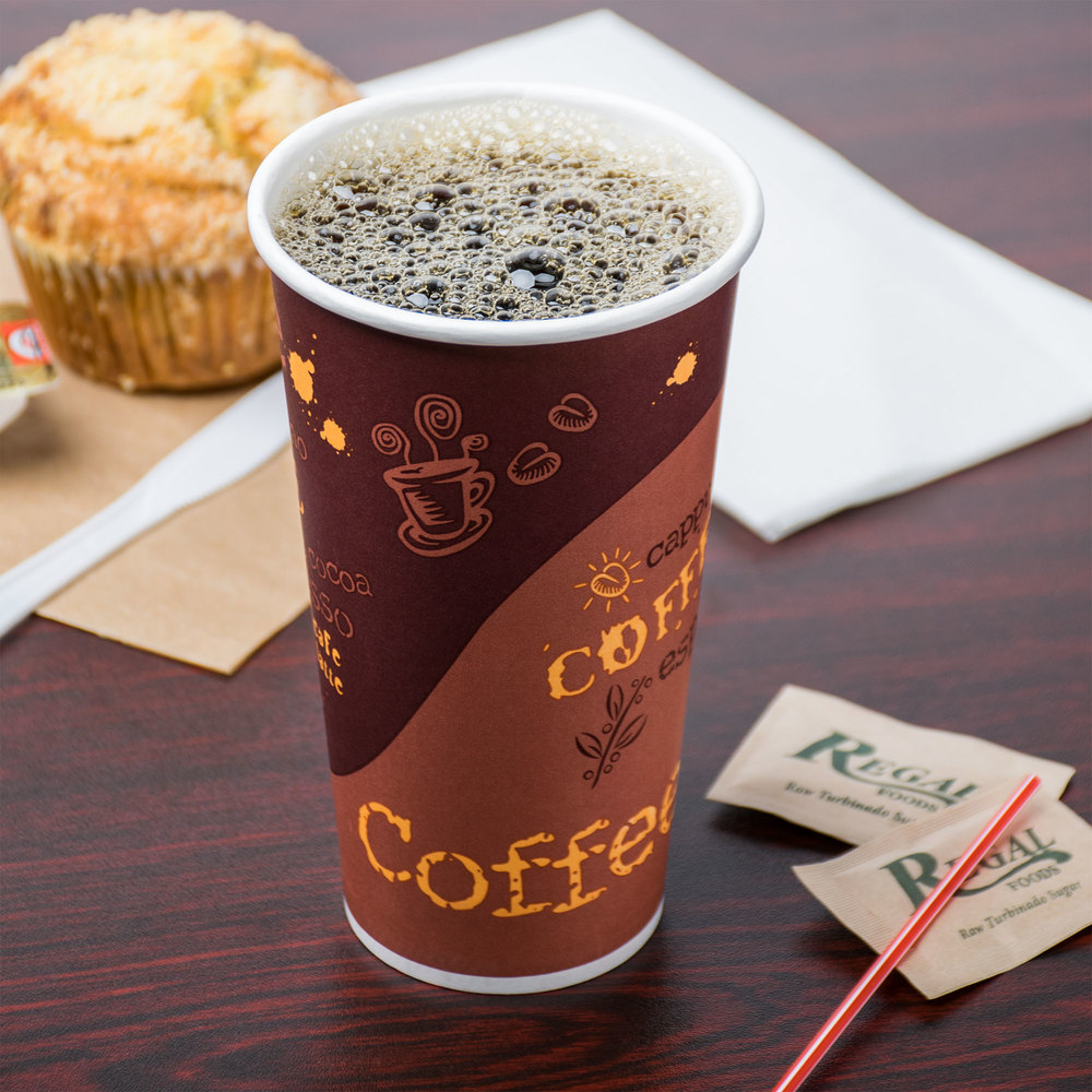 Choice 20 oz. Poly Paper Hot Cup with Coffee Design - 600 / Case